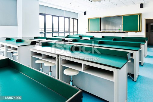 881192038 istock photo Empty classroom with desks and chairs 1133574990