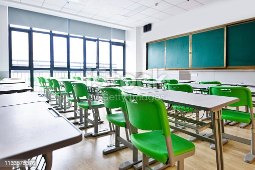 881192038 istock photo Empty classroom with desks and chairs 1133575376