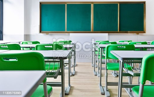 881192038 istock photo Empty classroom with desks and chairs 1133575393