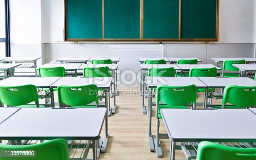 881192038 istock photo Empty classroom with desks and chairs 1133575500