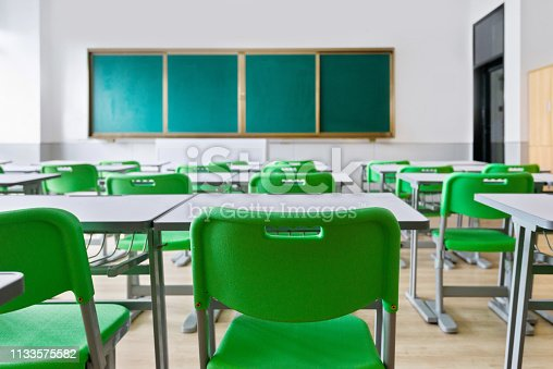 881192038 istock photo Empty classroom with desks and chairs 1133575582