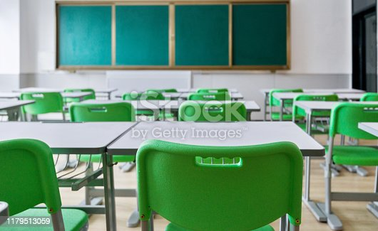 881192038 istock photo Empty classroom with desks and chairs 1179513059