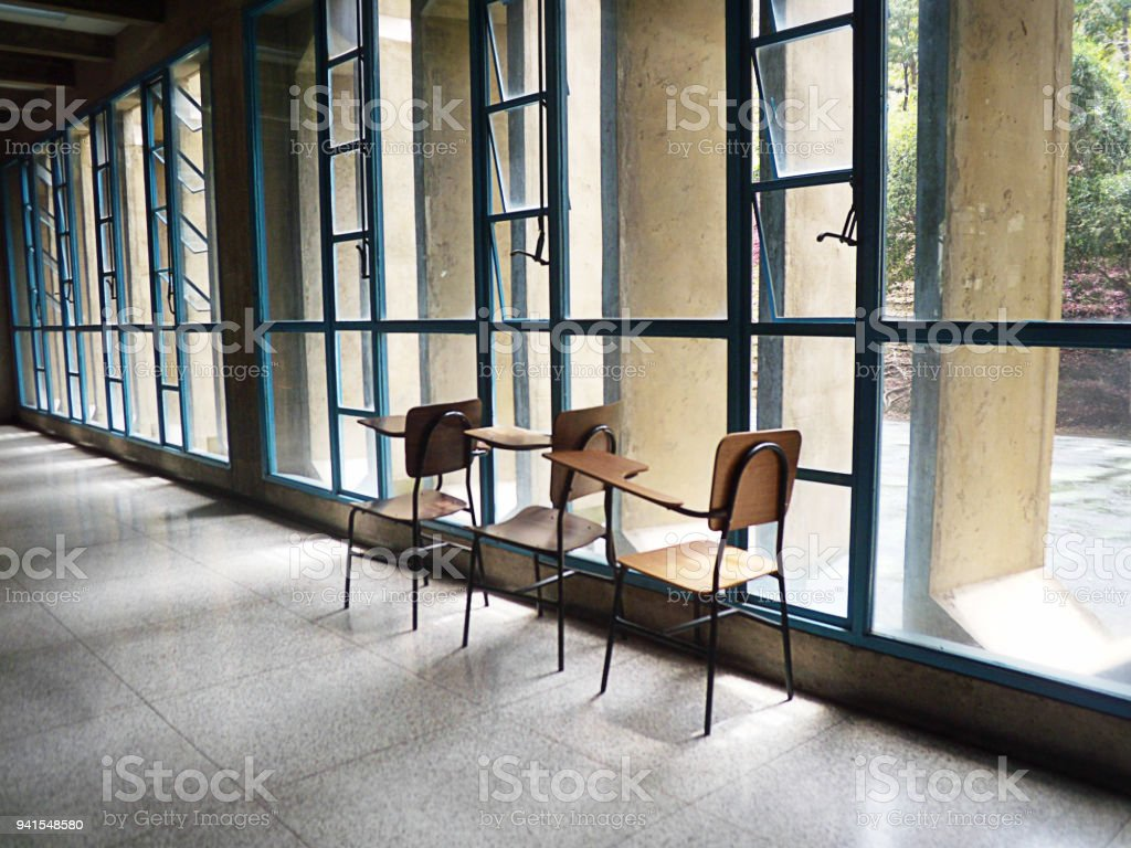 Empty Classroom With Students Desks Royalty Free Stock Photo