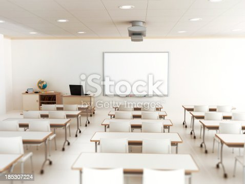 istock Empty classroom with white tables and chairs 185307224