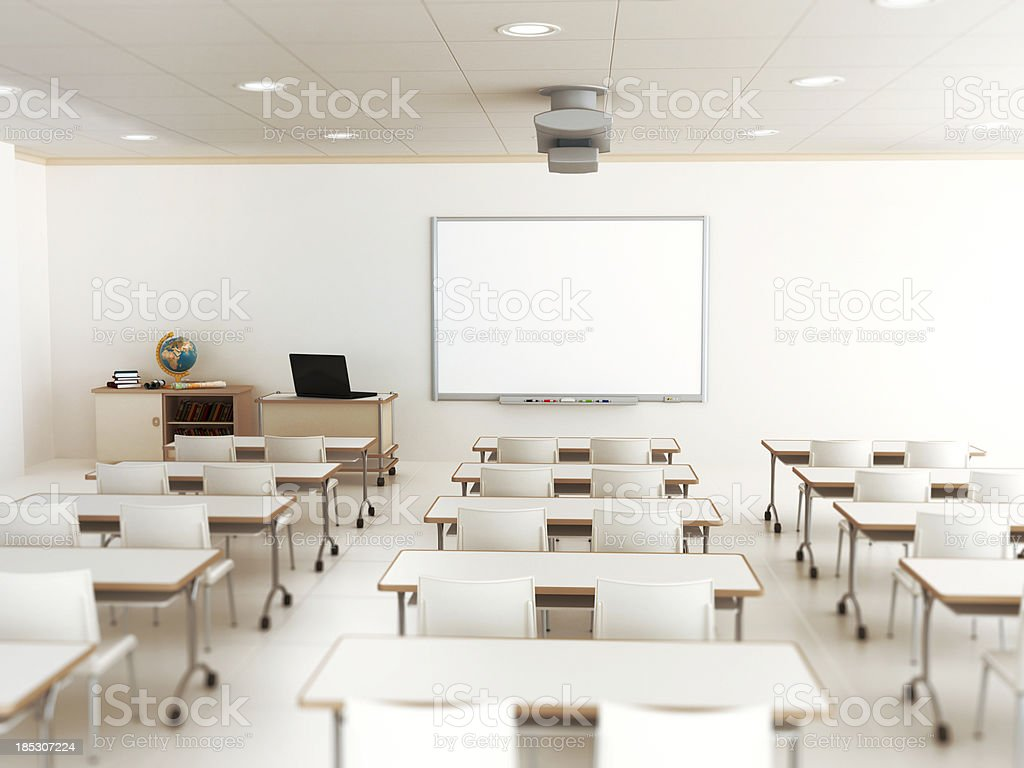 Empty classroom with white tables and chairs stock photo