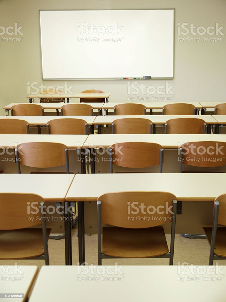 Empty Classroom with Whiteboard royalty-free stock photo
