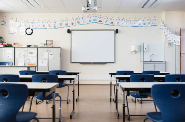 帶白板的空教室 - 無人 個照片及圖片檔