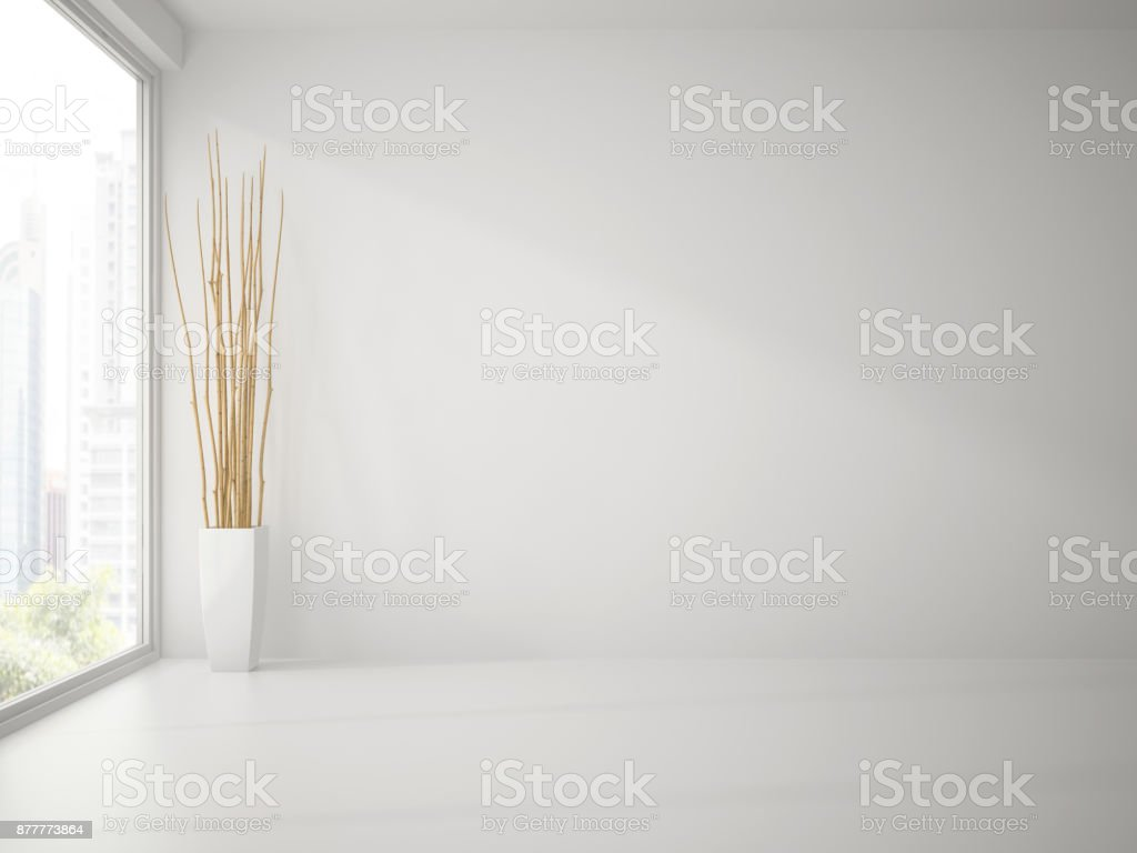 Empty clean white room with branches decor 3D rendering stock photo