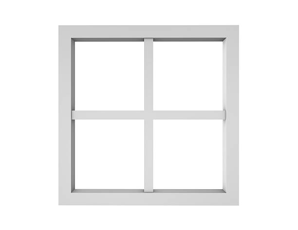 Empty clean window frame isolated on white. stock photo