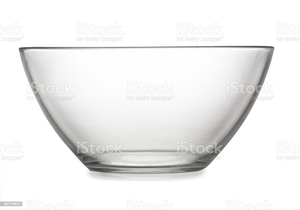 Empty clear glass bowl on white background stock photo