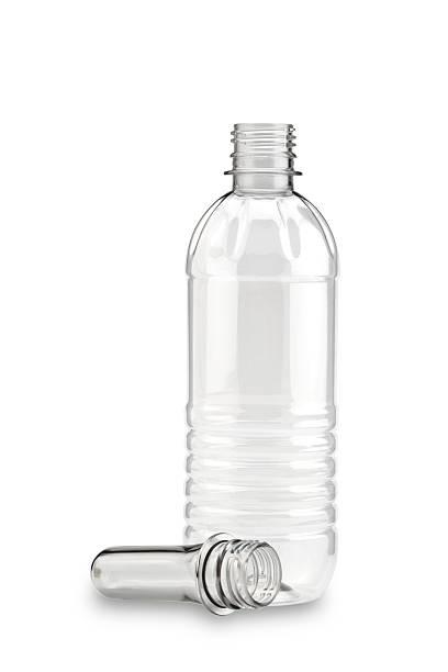 empty clear plastic bottle on white background - pet bottles bildbanksfoton och bilder