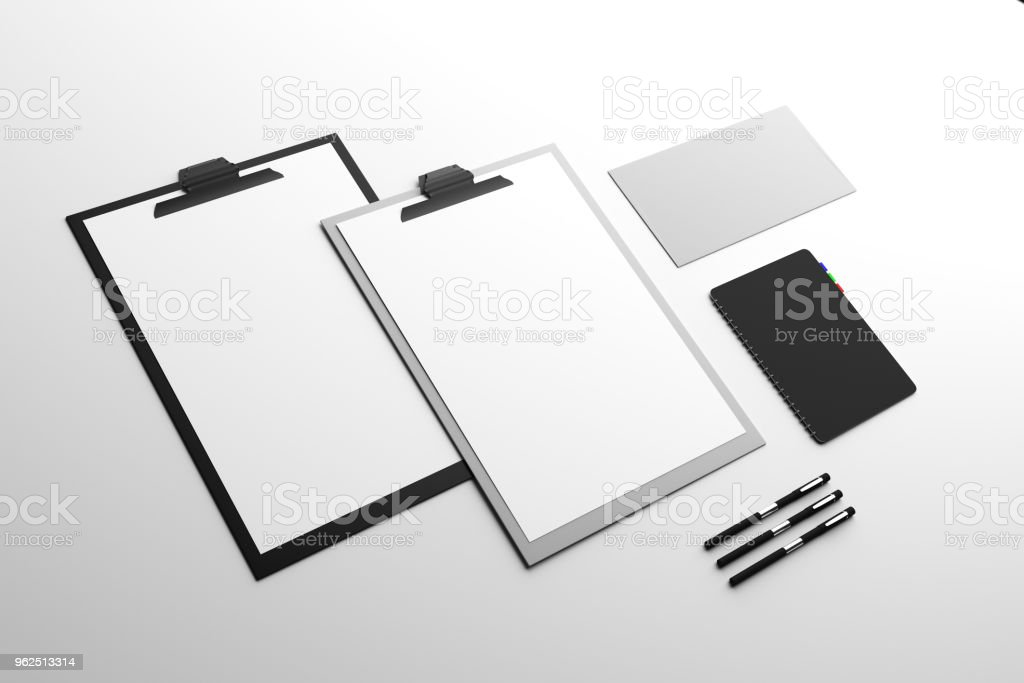Empty clipboard and supplies - Royalty-free Blank Stock Photo