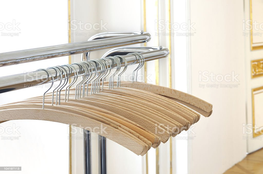 Empty clothes hangers royalty-free stock photo
