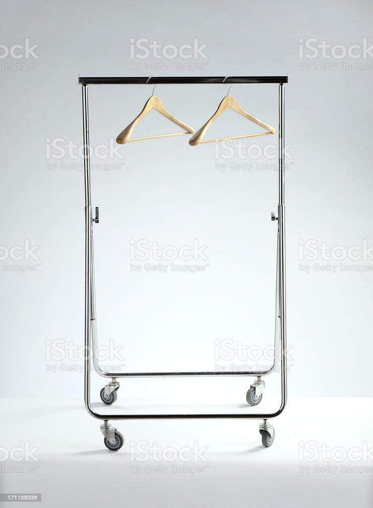 empty clothes rack, economic depression stock photo