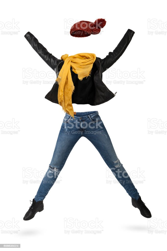 Empty clothes. Woman jumping. stock photo
