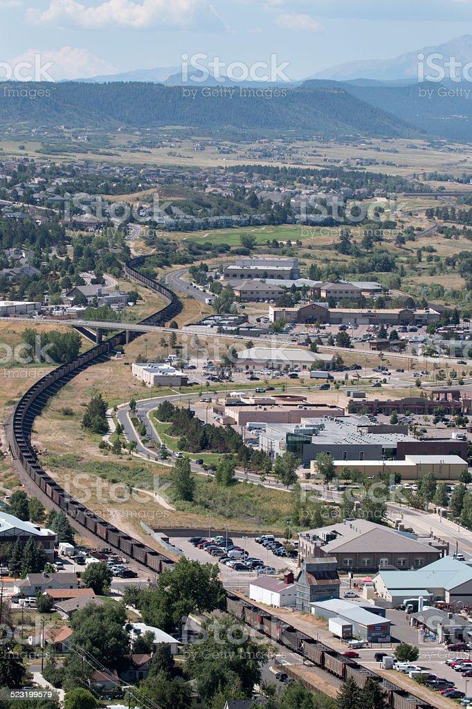 Empty coal train snakes through Castle Rock Colorado stock photo