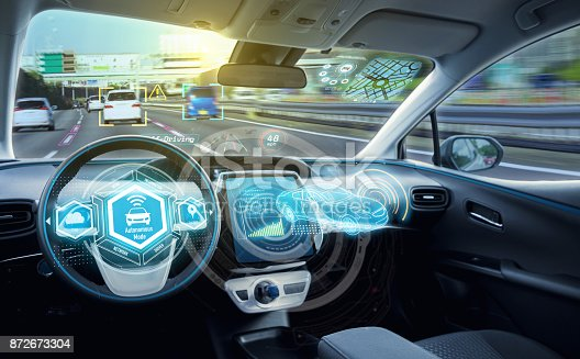 istock Empty cockpit of autonomous car, HUD(Head Up Display) and digital speedometer. self-driving vehicle. 872673304