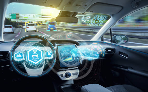 Empty cockpit of autonomous car, HUD(Head Up Display) and digital speedometer. self-driving vehicle. stock photo
