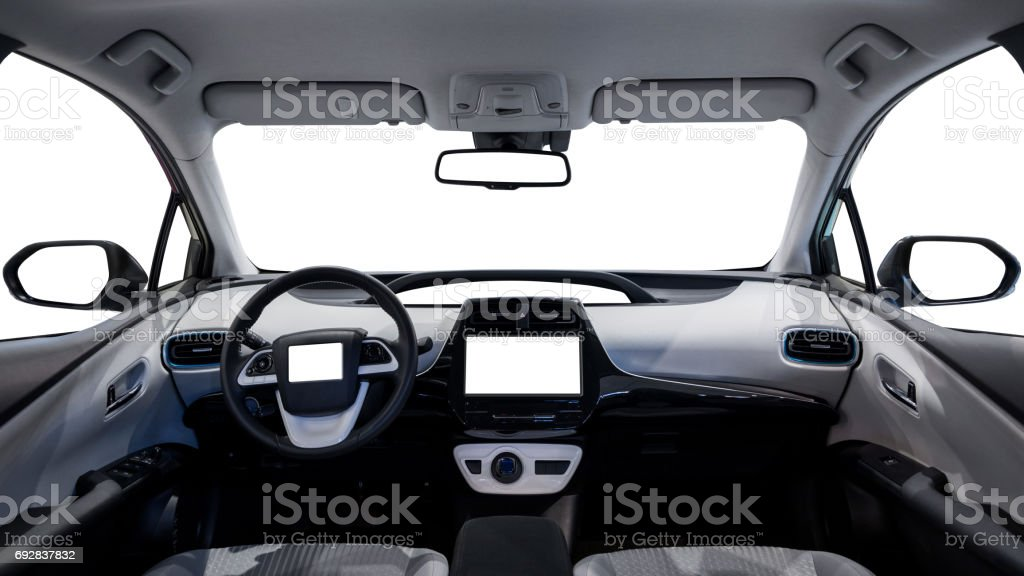 empty cockpit of vehicle and various displays stock photo