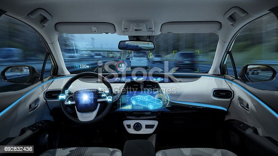 istock empty cockpit of vehicle, HUD(Head Up Display) and digital speedometer, autonomous car 692832436