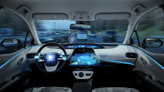 empty cockpit of vehicle, HUD(Head Up Display) and digital speedometer, autonomous car