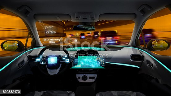istock empty cockpit of vehicle, HUD(Head Up Display) and digital speedometer, autonomous car 692832470