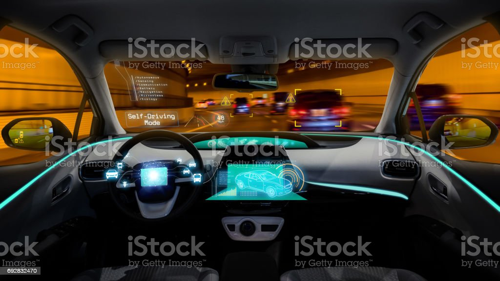 empty cockpit of vehicle, HUD(Head Up Display) and digital speedometer, autonomous car stock photo