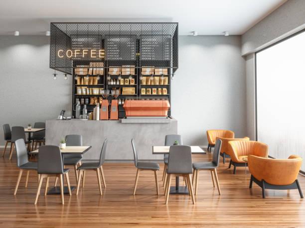 leerer coffee shop - cafe stock-fotos und bilder