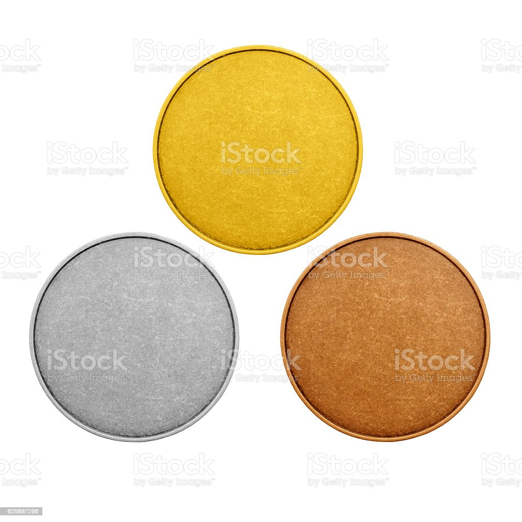 empty coins, olimpic games medals color stock photo