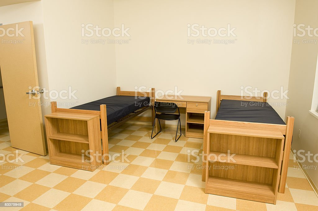 Empty college dorm room foto stock royalty-free
