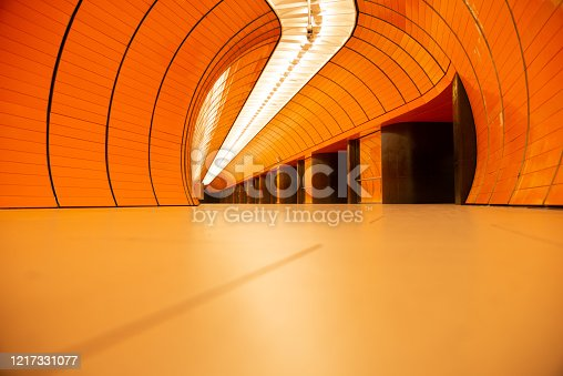 686251110 istock photo Empty colorful subway station in Munich Germany 1217331077