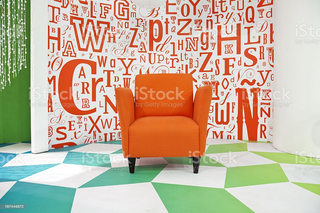 Empty colorful television studio decoration with armchair stock photo