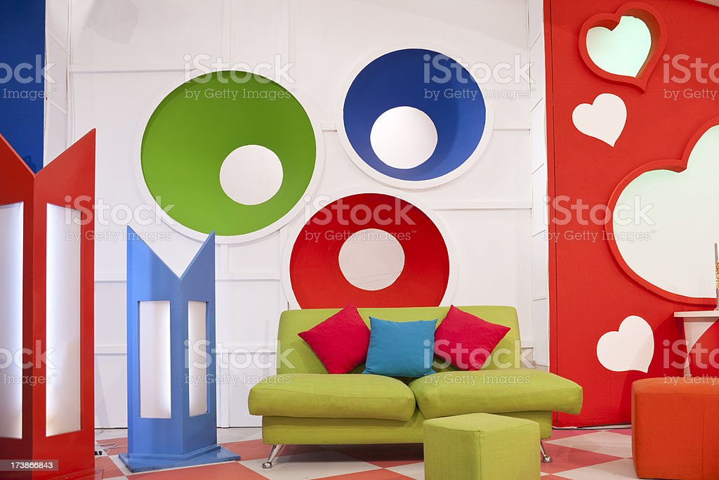 Empty colorful television studio royalty-free stock photo