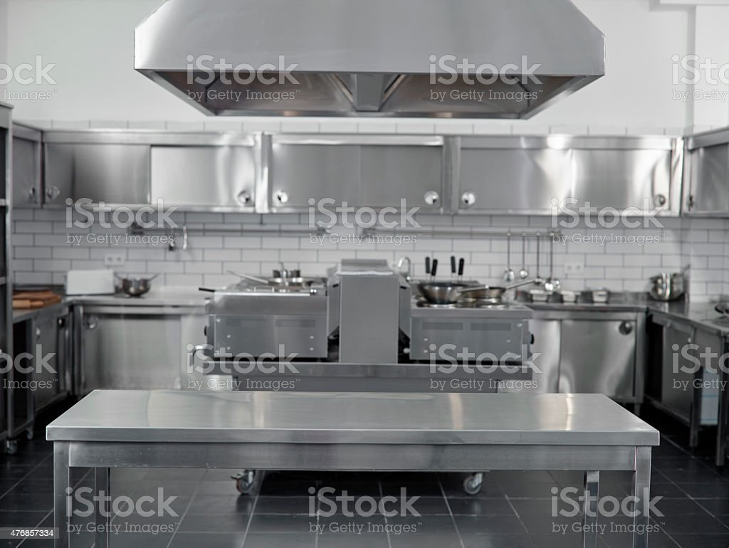 Empty commercial kitchen stock photo