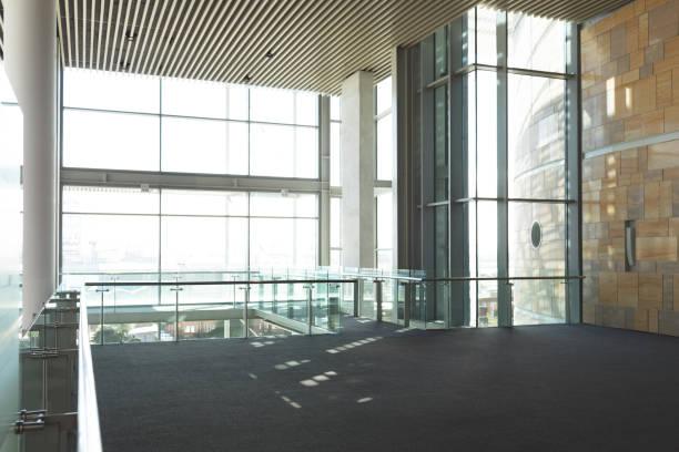 Empty commercial office balcony stock photo