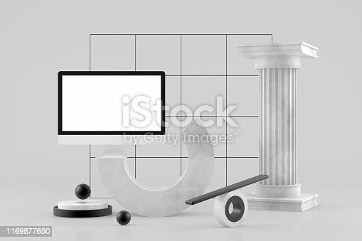 3D rendering of Empty Computer Screen with Abstract Geometric Shapes on Gray Background, Minimal Concept, Black and gold colors.
