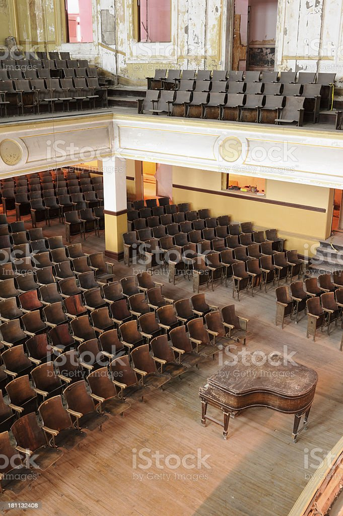 Empty Concert Hall, Abandoned High School Auditorium, Bad Condition royalty-free stock photo