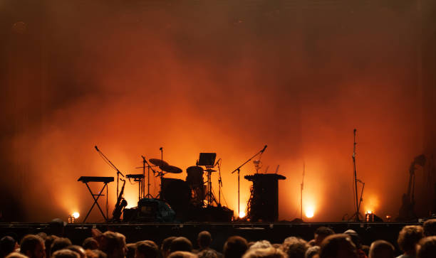 empty concert stage on music festival, instruments silhouettes - stage performance space stock pictures, royalty-free photos & images