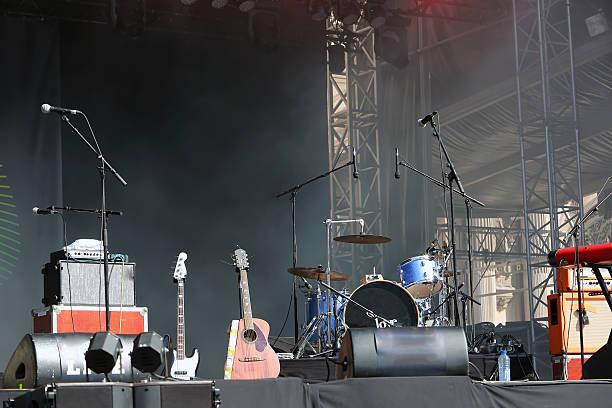 Empty concert stage stock photo