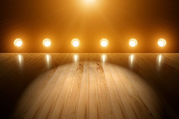 Empty Concert Stage Spotlight and Flares Background A empty concert or theater stage with can lights and spotlight background. stage light stock pictures, royalty-free photos & images