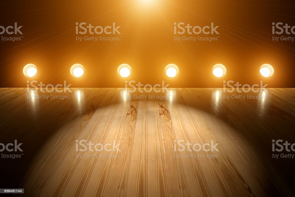 Empty Concert Stage Spotlight and Flares Background stock photo