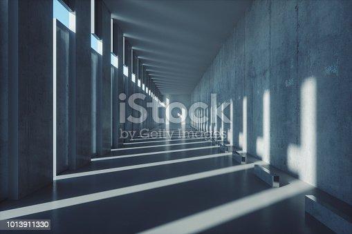 Empty concrete corridor.