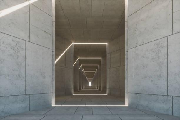 Empty concrete corridor stock photo