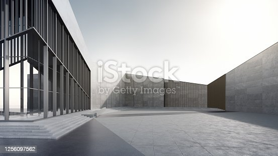 istock Empty concrete floor and gray wall. 1256097562