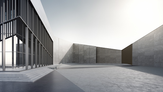 3d rendering of modern building with clear sky background.