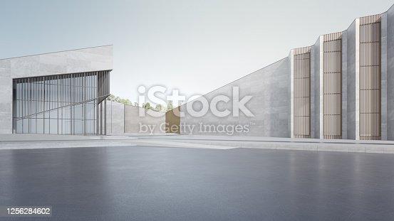 istock Empty concrete floor and gray wall. 1256284602