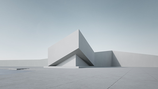 3d rendering of abstract white building with clear sky background.
