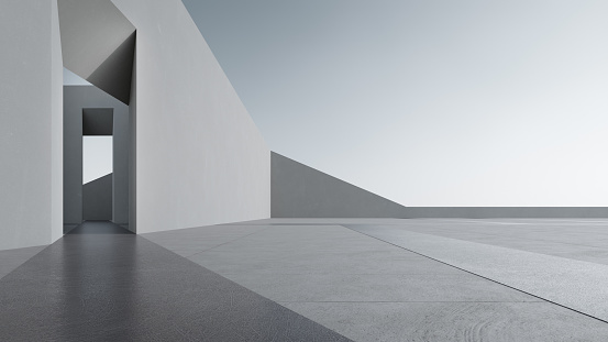 3d rendering of abstract gray building with clear sky background.