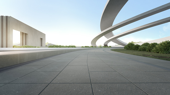 3d rendering of outdoor space and future architecture with blue sky background.