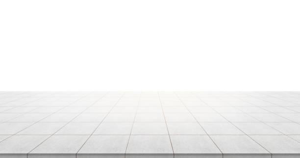 leere betonboden oben isoliert auf weißem hintergrund für anzeige oder montage produkt - betonwerkstein stock-fotos und bilder